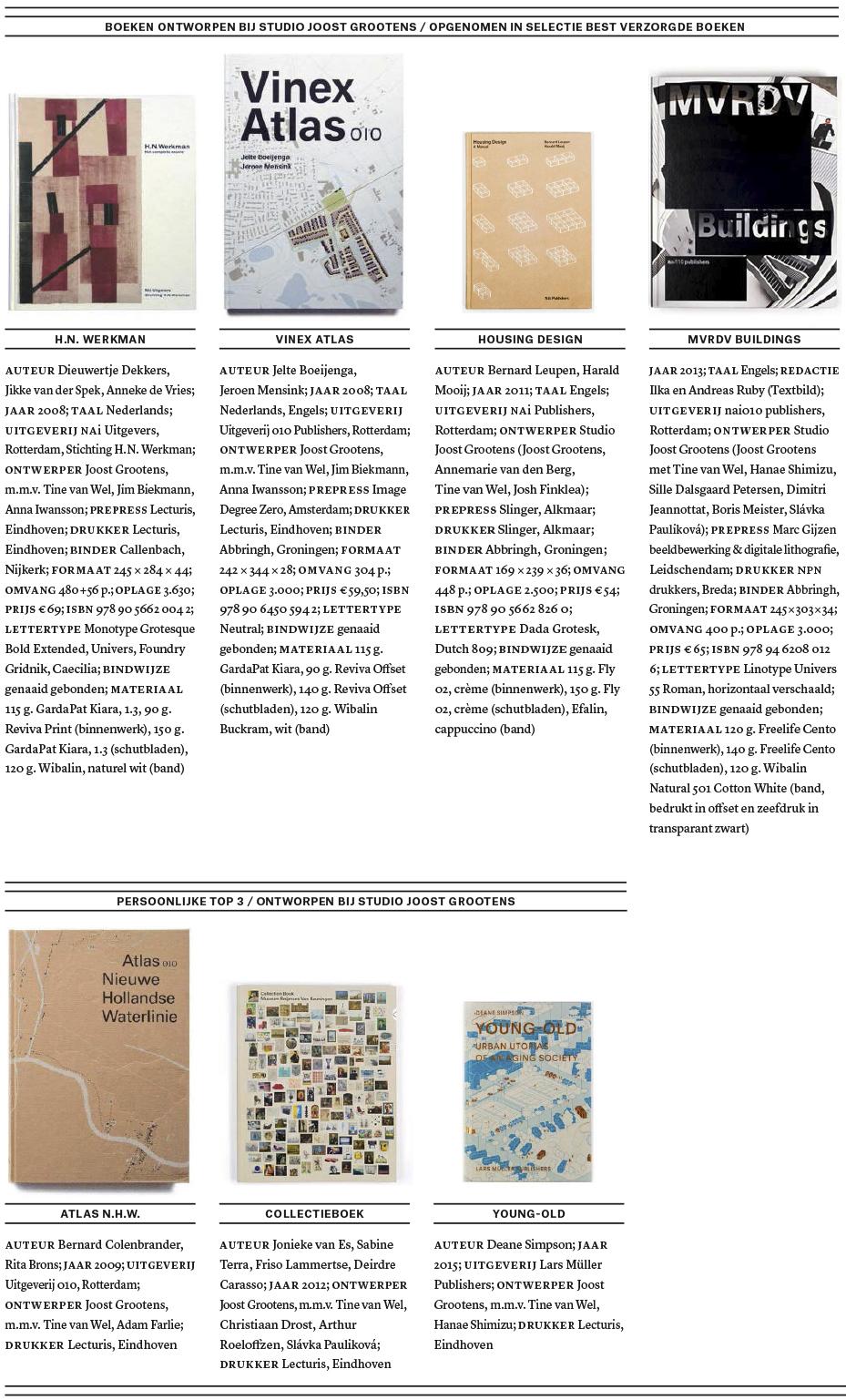 Overzicht ontworpen boeken bij Studio Joost Grootens